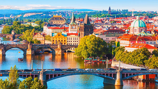 Old town of Prague and Vltava river, Czech Republic