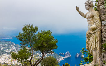 View from the mountain Solaro in Capri, Italy