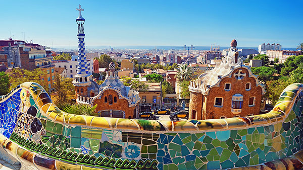 A view of Barcelona from the Park Guell, Spain